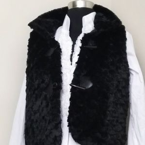 Italian made black vegan fur minky vest xl